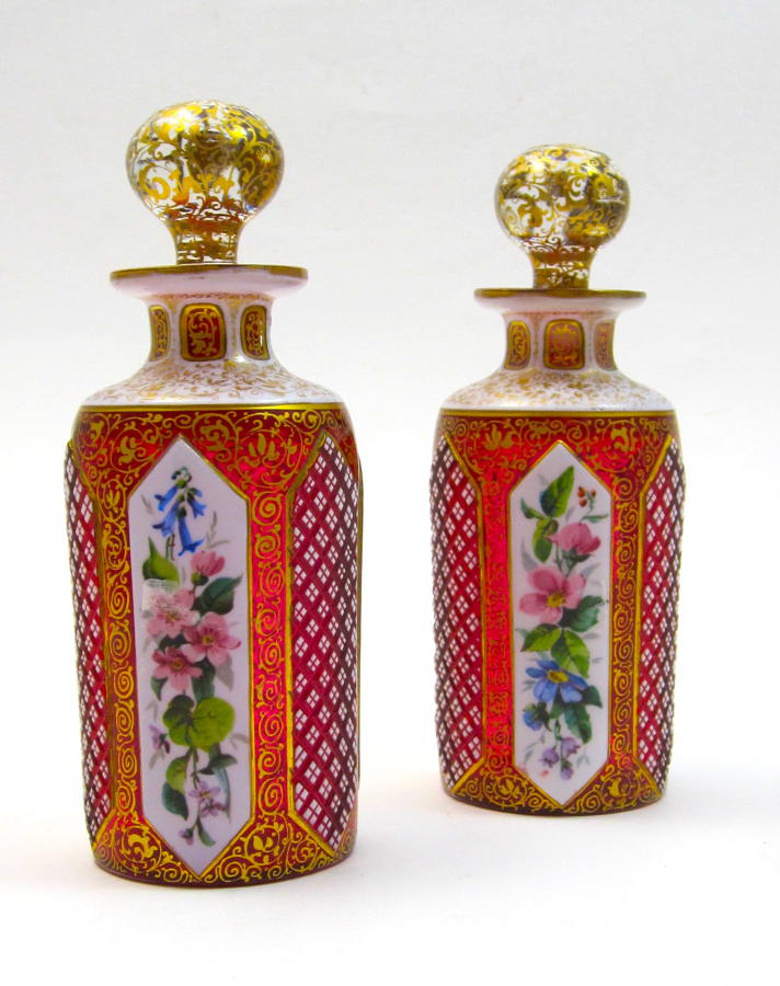 Pair of Antique Bohemian Red Overlay Glass Perfume Bottles