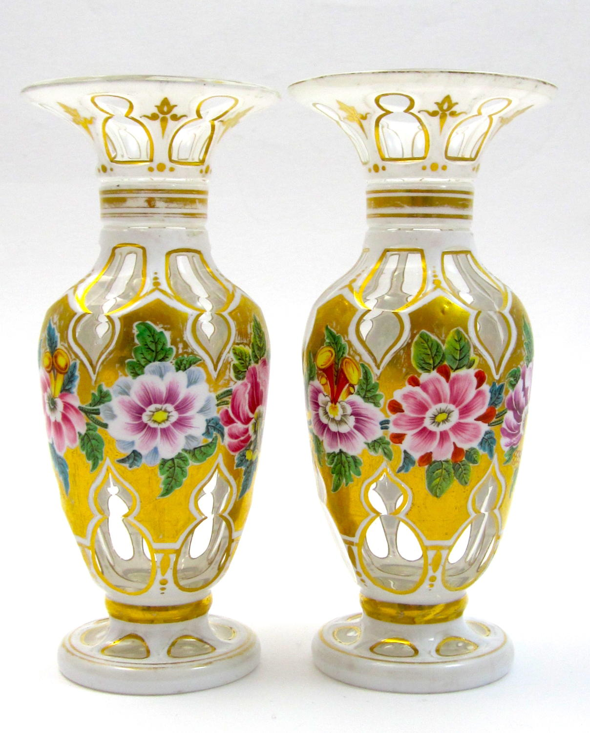 A Superb Miniature Pair of Bohemian Overlay Vases with Flowers