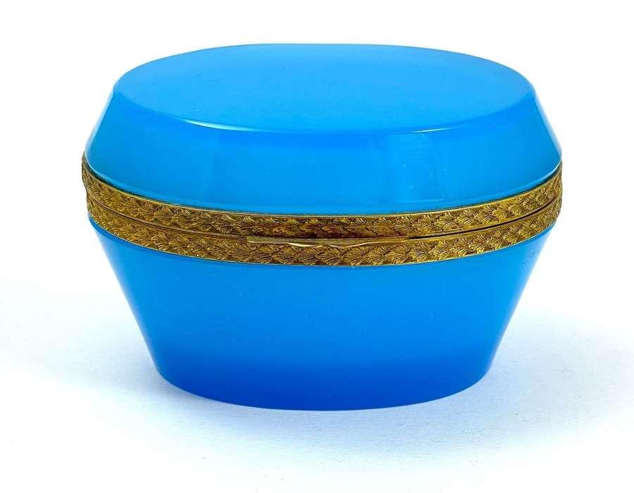 Antique Murano BlueOpaline Glass Oval Casket Box