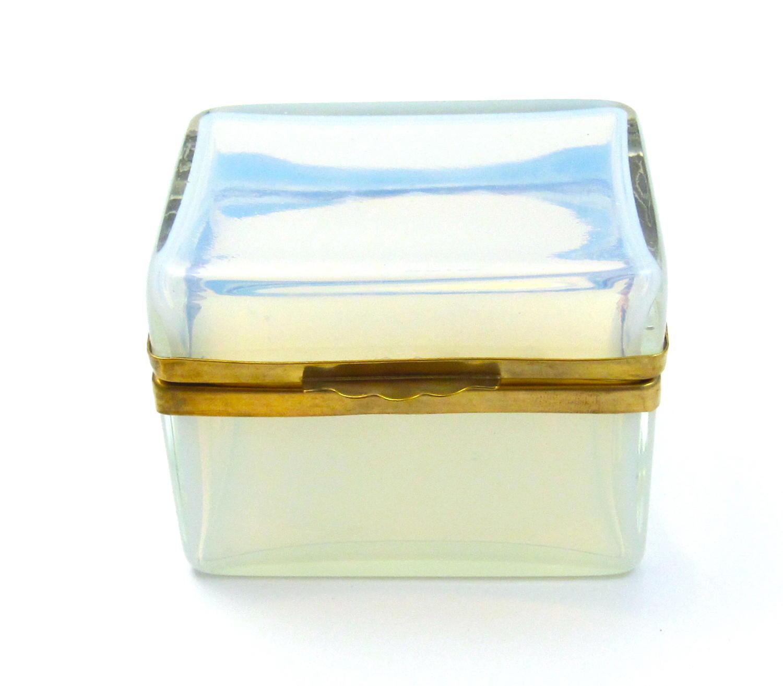 Antique French 'Bulle de Savon' White Opaline Glass Casket Box .