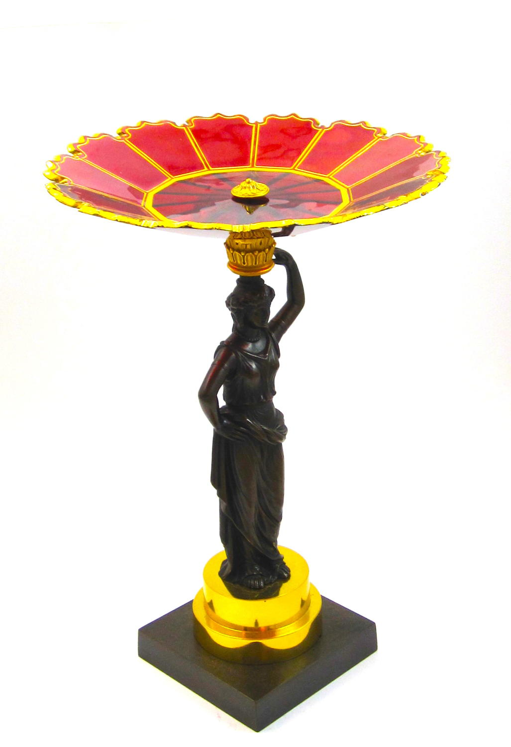 High Quality Antique French Bronze and Ruby Crystal Centrepiece