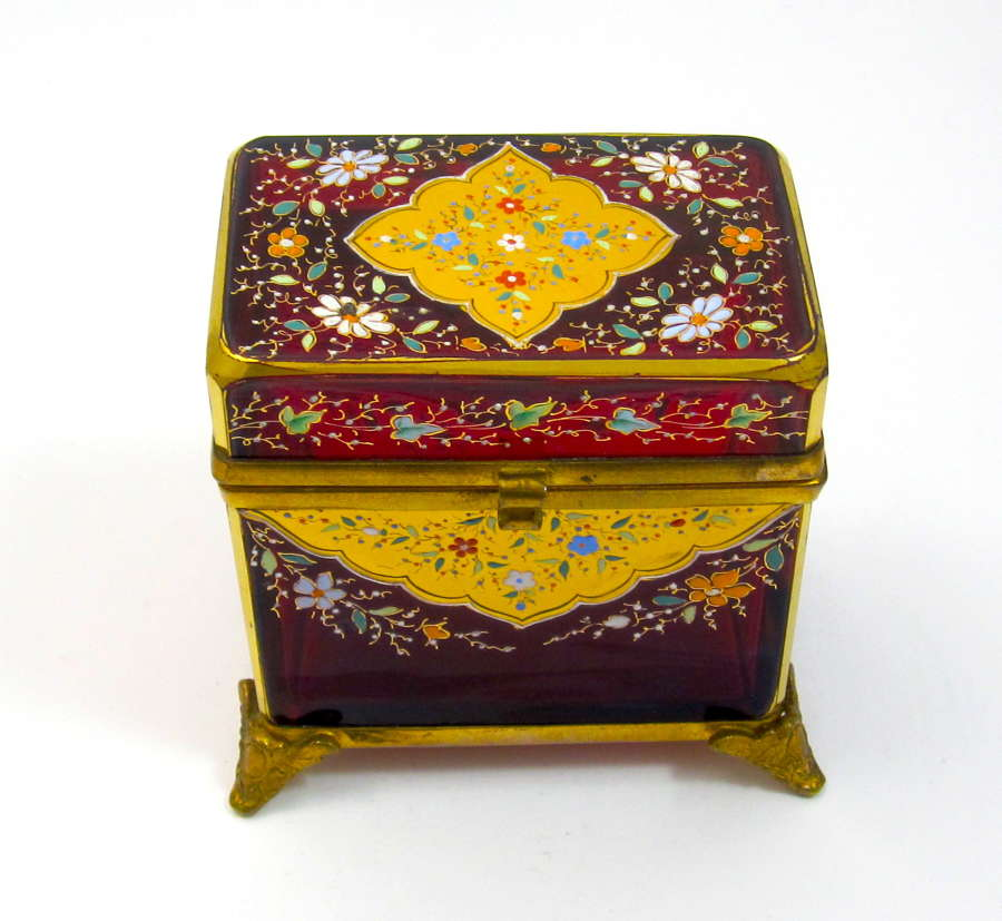 Antique MOSER Ruby Red Glass Enamelled Casket Box