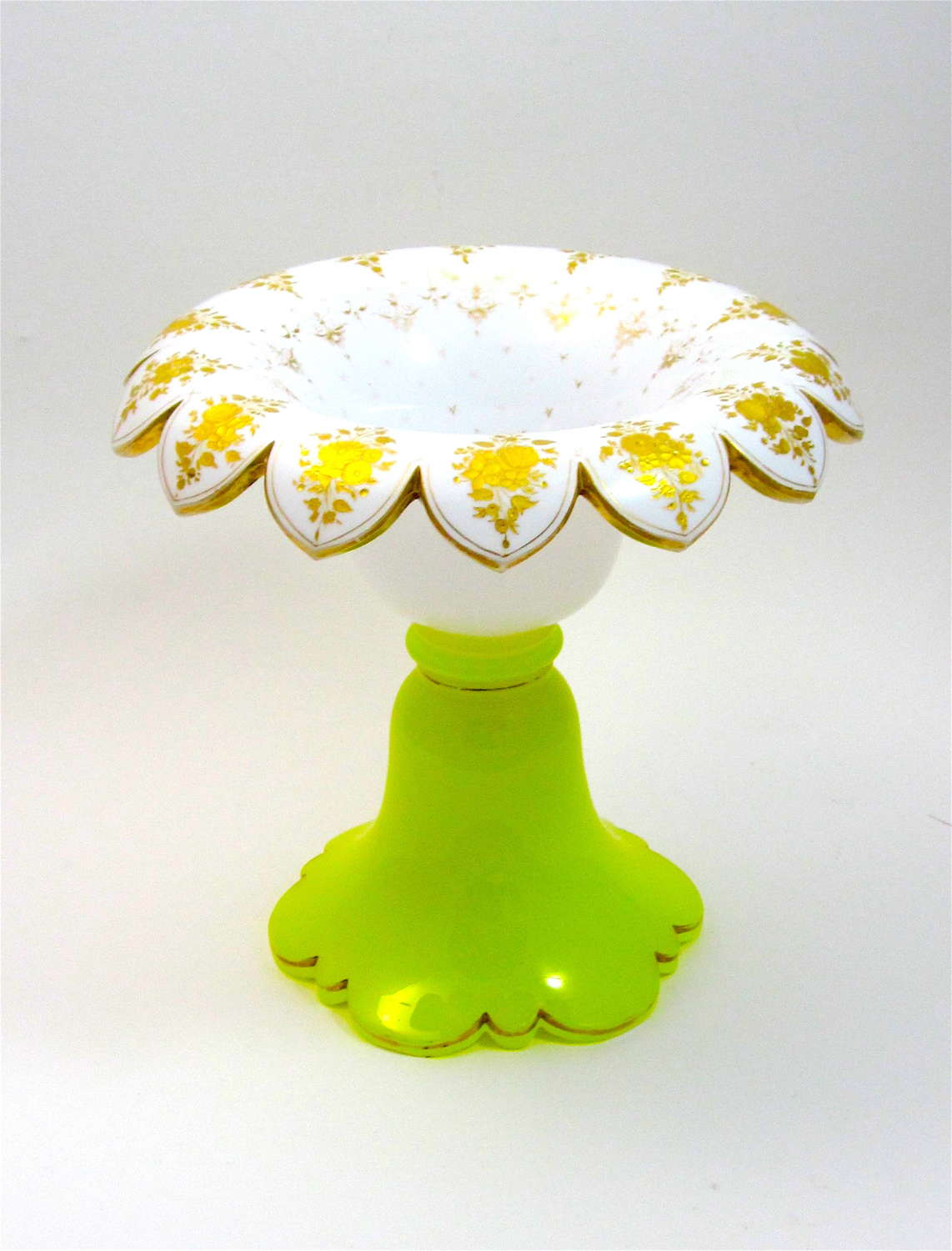 RARE Bohemian White and Yellow Opaline Overlay Glass Centrepiece