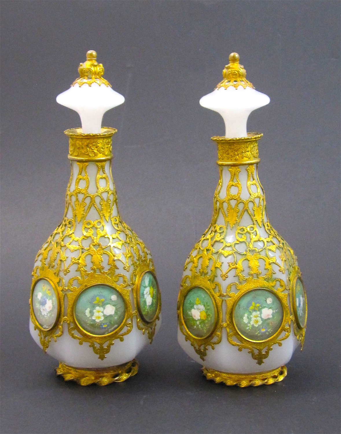 Pair of Unusual Palais Royal Opaline Glass Perfume Bottles