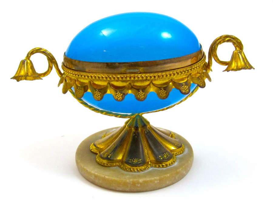 Antique French Blue Opaline Glass Egg Shaped Box