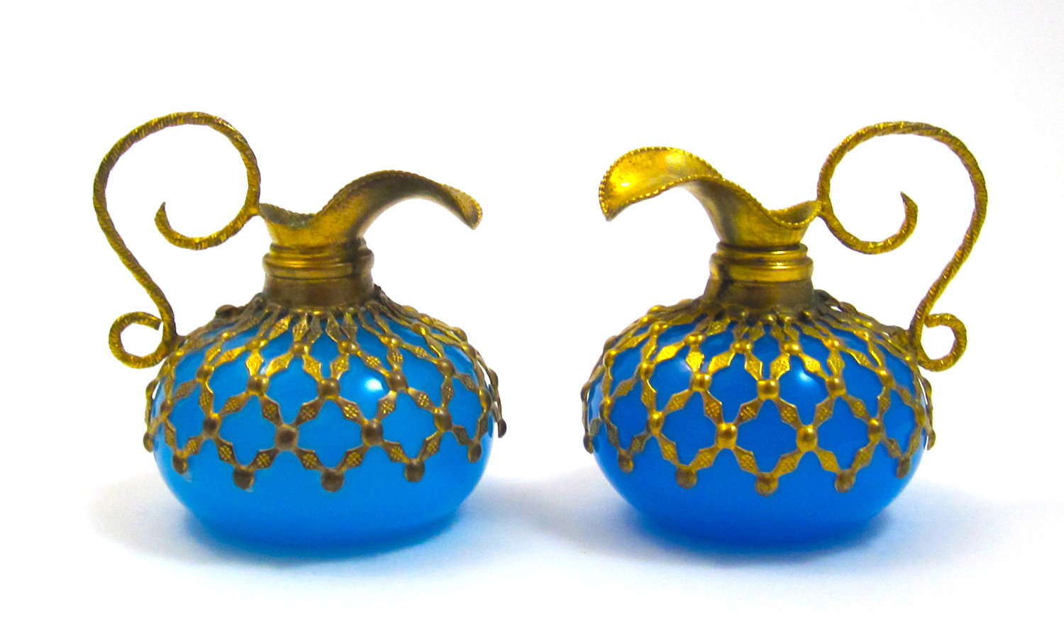 A Pair of Antique Miniature Palais Royal Blue Opaline Glass Ewers