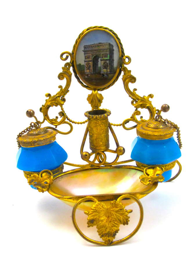 Antique Palais Royal French Blue Opaline Glass Inkwell