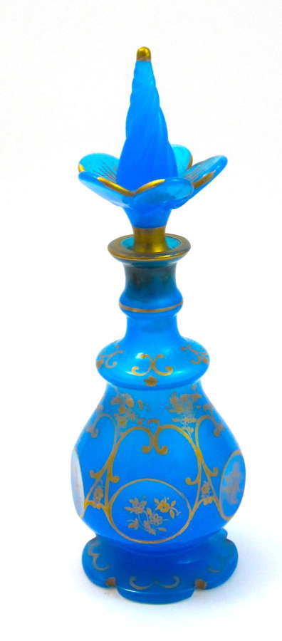 Tall Antique French Blue Opaline Perfume Bottle with Flower Stopper