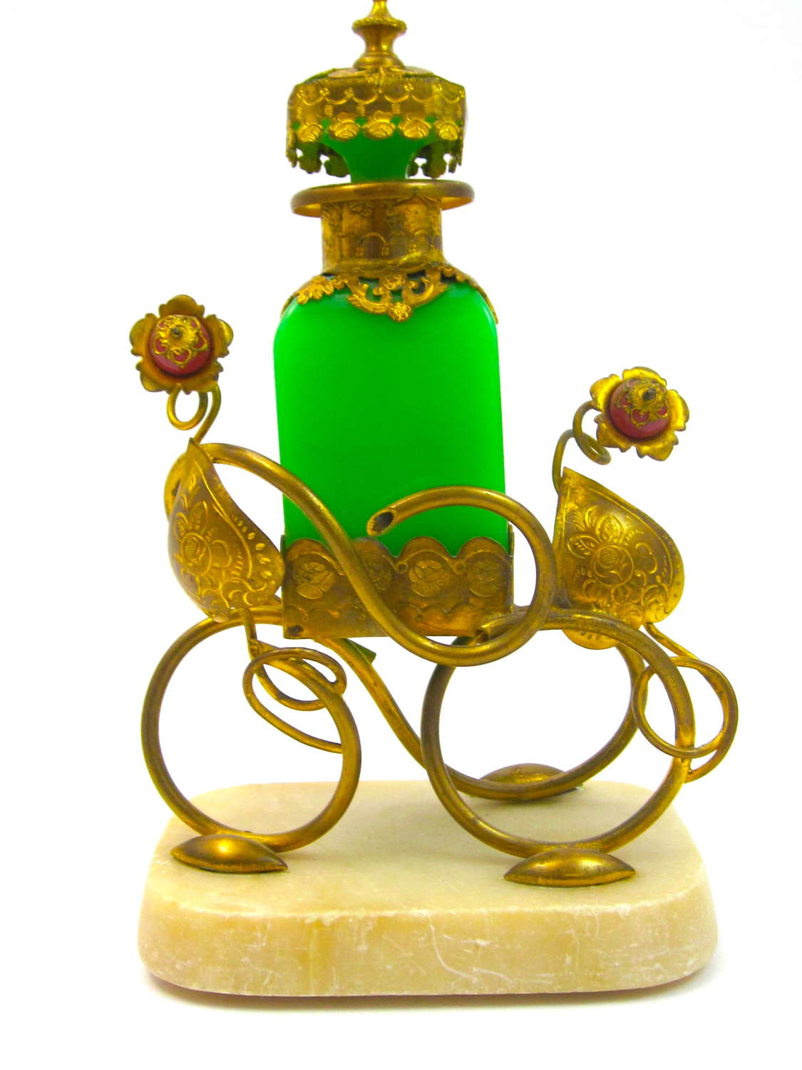 Antique Palais Royal Green Opaline Glass Perfume Bottle Set