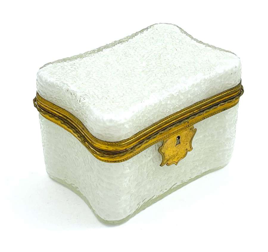 Antique French White Opaline 'Crackled' Glass Casket Box