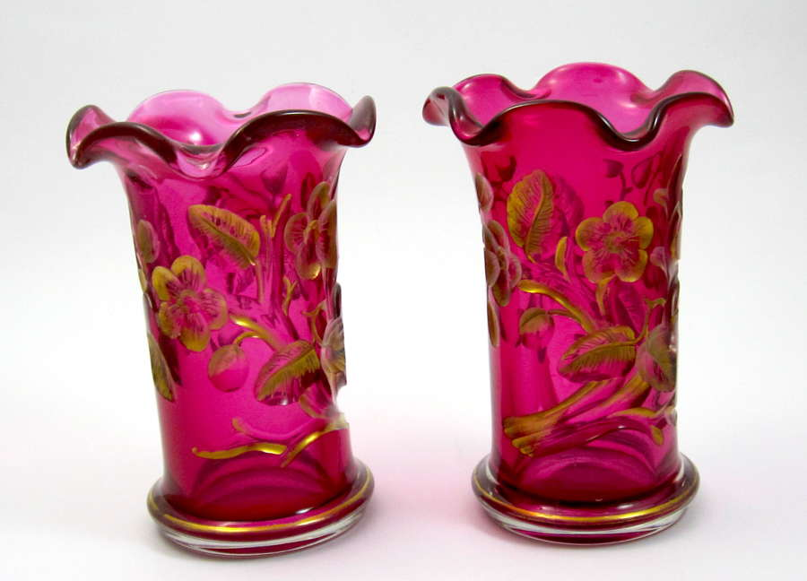 Pair of Antique MOSER Flower Vases