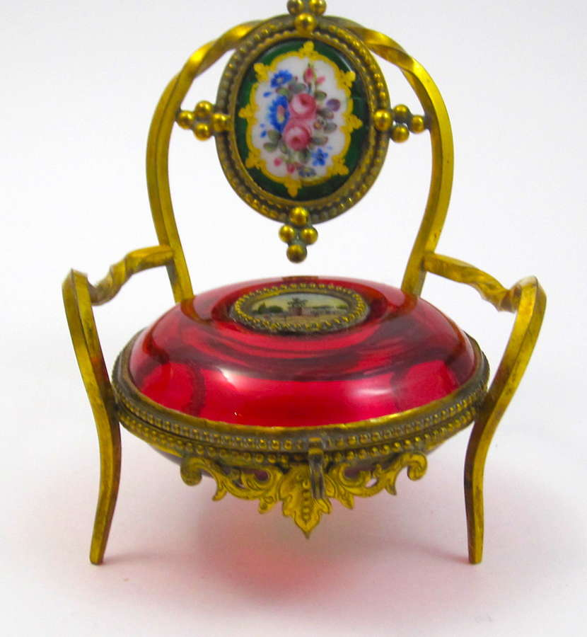 Antique Palais Royal Ruby Red Chair Jewellery Box