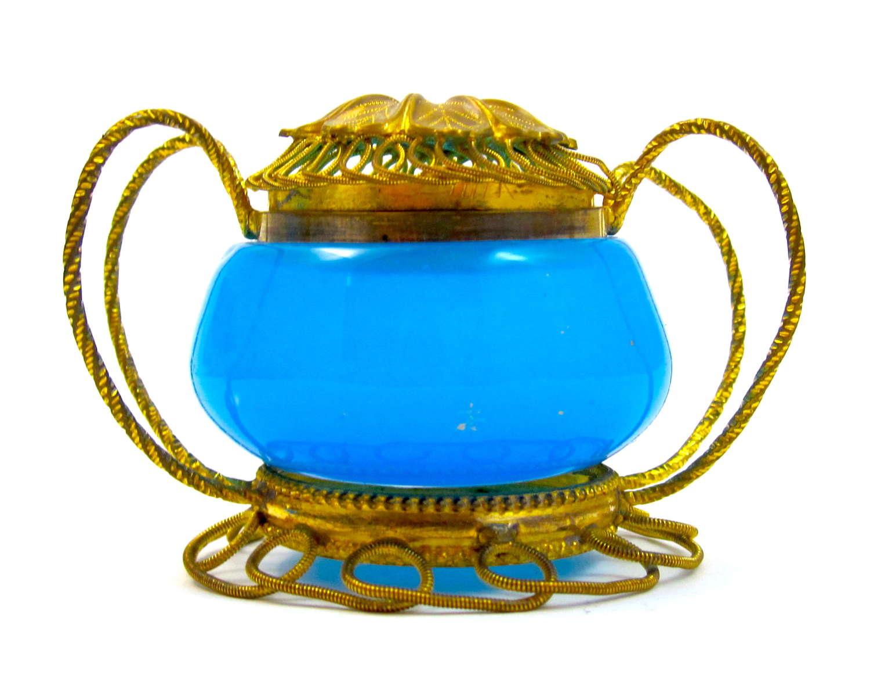 Antique French Palais RoyalBlue Opaline Glass Box