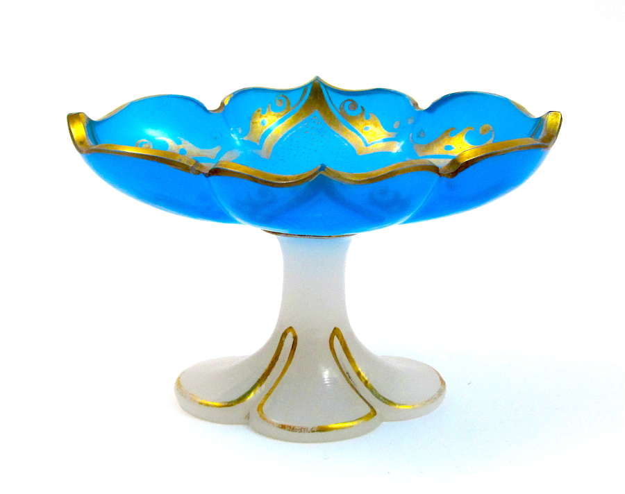 Unusual Antique French Blue and White Oplaine Dish Highlighted in Gold