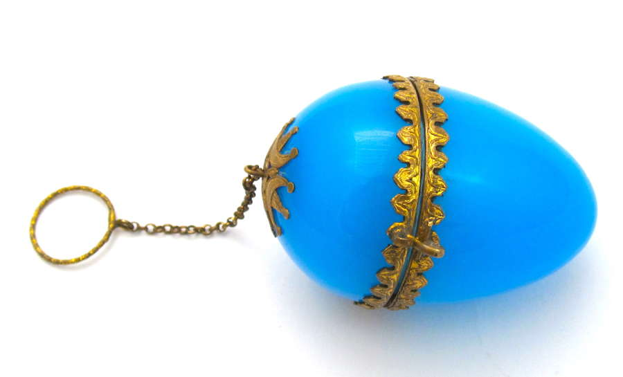 Antique Palais Royal Blue Opaline Glass Egg Chatelaine