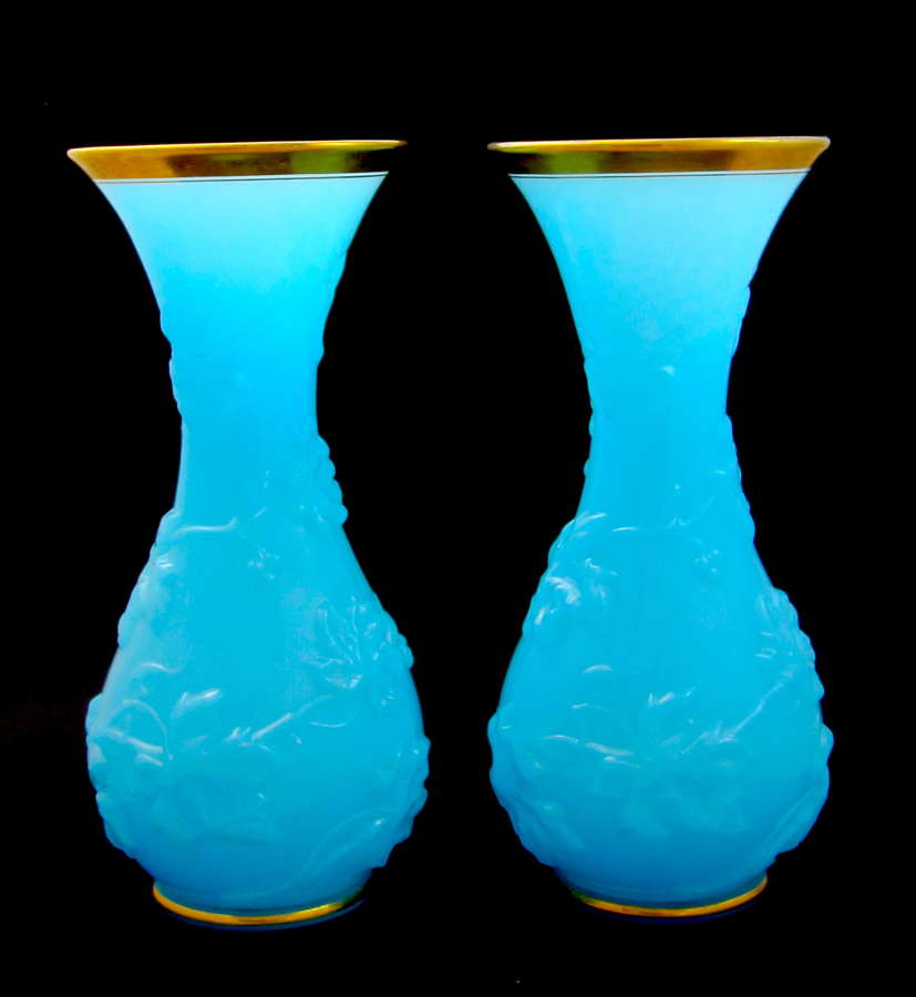 Pair of Antique BACCARAT Pale Blue Opaline Glass Vases