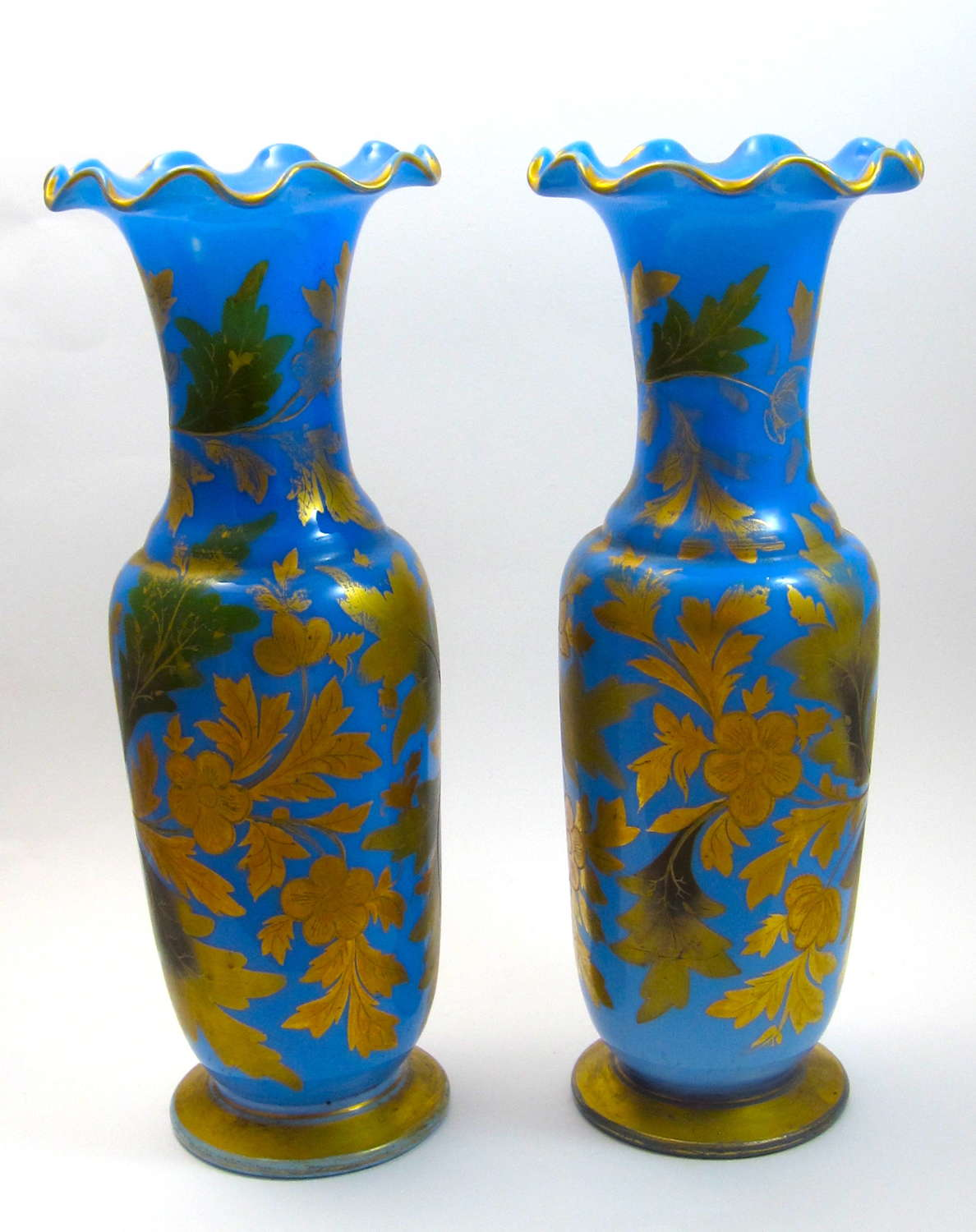 A Tall Pair of High Quality Baccarat Blue Opaline Glass Vases
