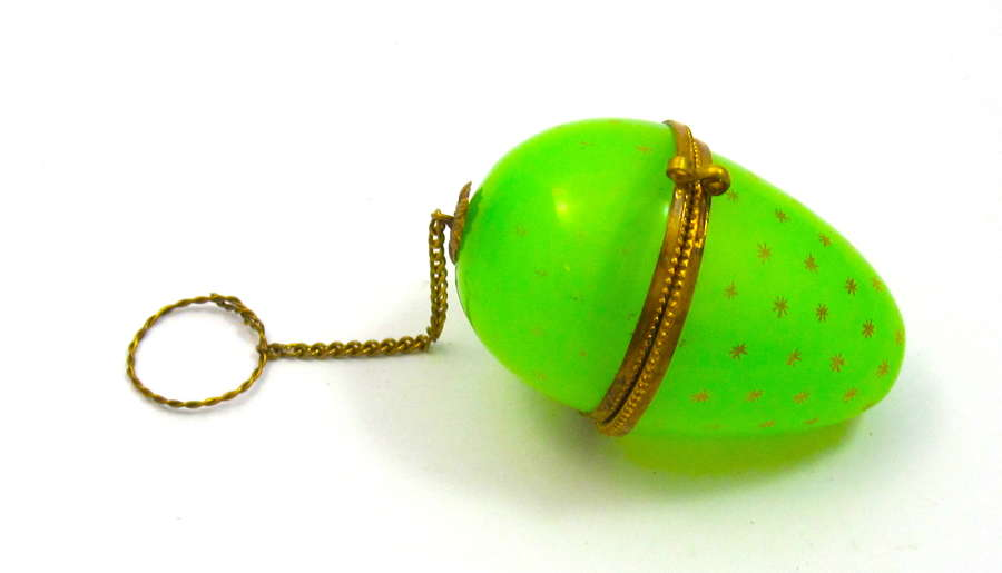 Antique Palais Royal Green Opaline Glass Egg Chatelaine