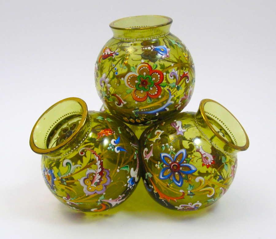Unusual MOSER Pale Olive GlassEnamelled Vase.