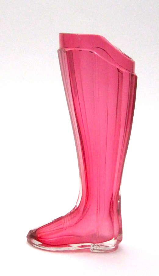 Antique Bohemian Whimsical Cranberry Glass Boot Drinking Vessel.