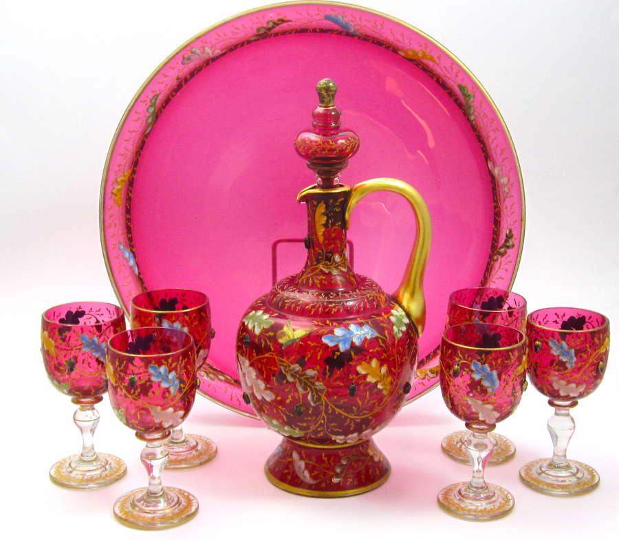 Antique MOSER Cranberry Glass Decanter Set