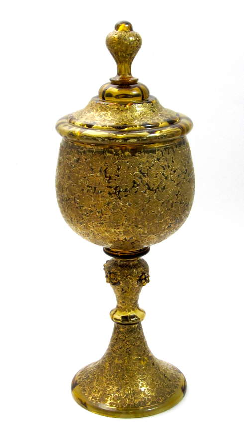 Antique Bohemian MOSER Goblet and Cover