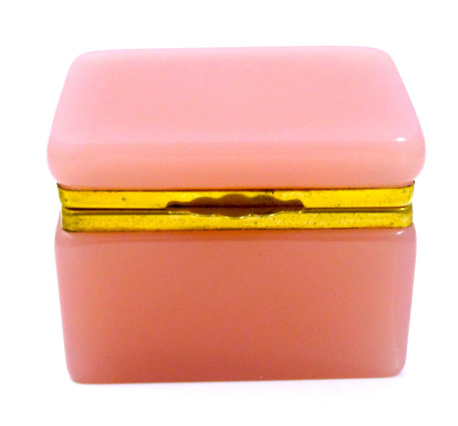 Antique French Pink Opaline Glass Casket Box with Smooth Mounts.