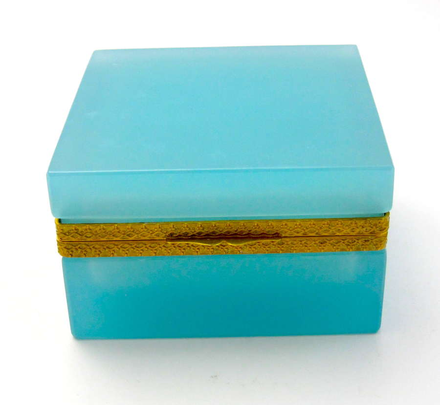 Antique Square Turquoise Opaline Glass Casket Box