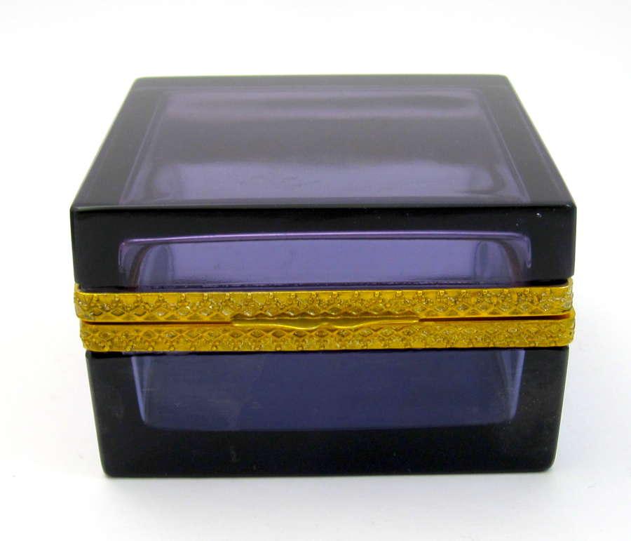 Antique Square Amethyst Glass Casket Box