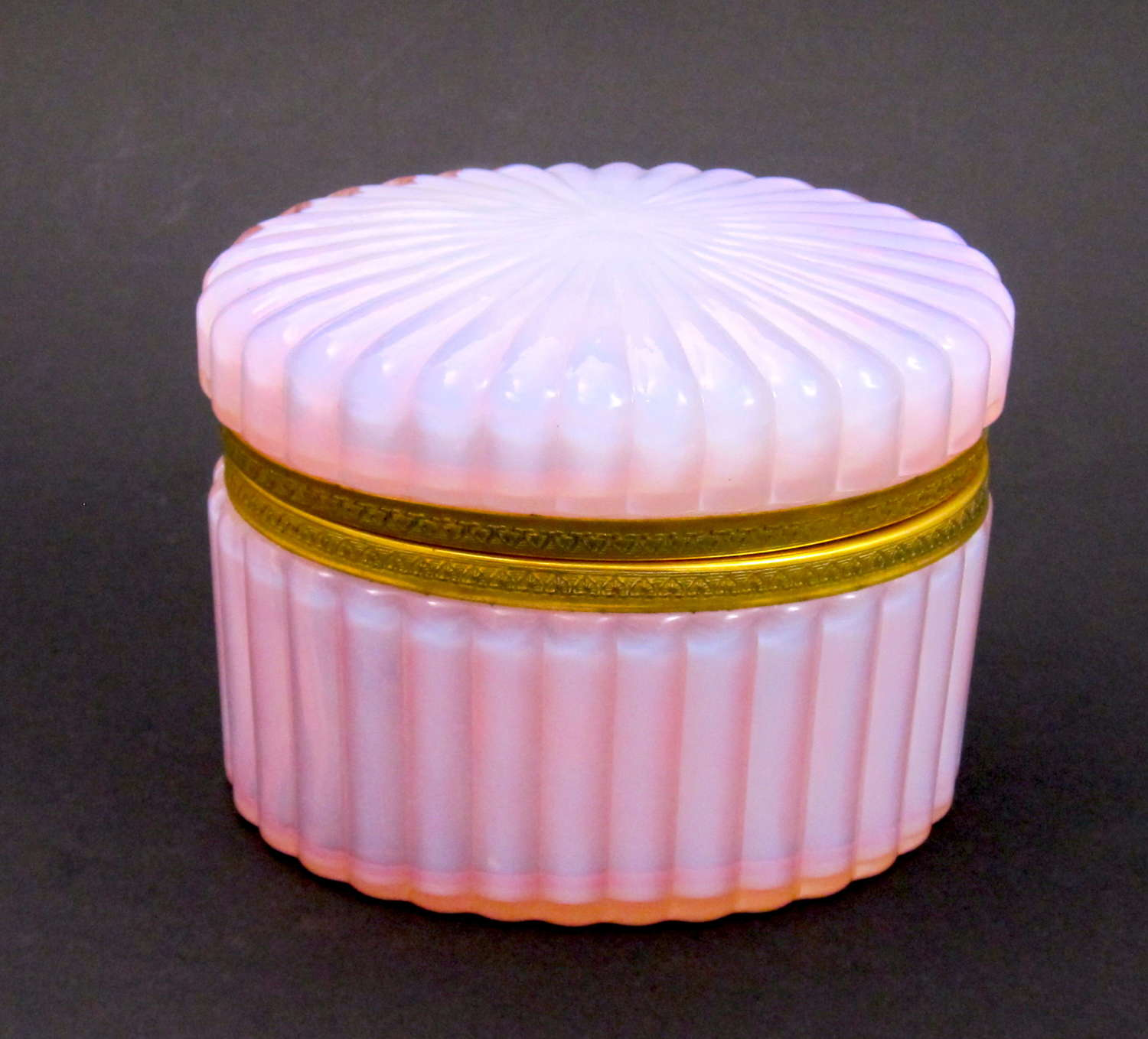RARE Antique French Oval Casket in Pink Opaline Glass