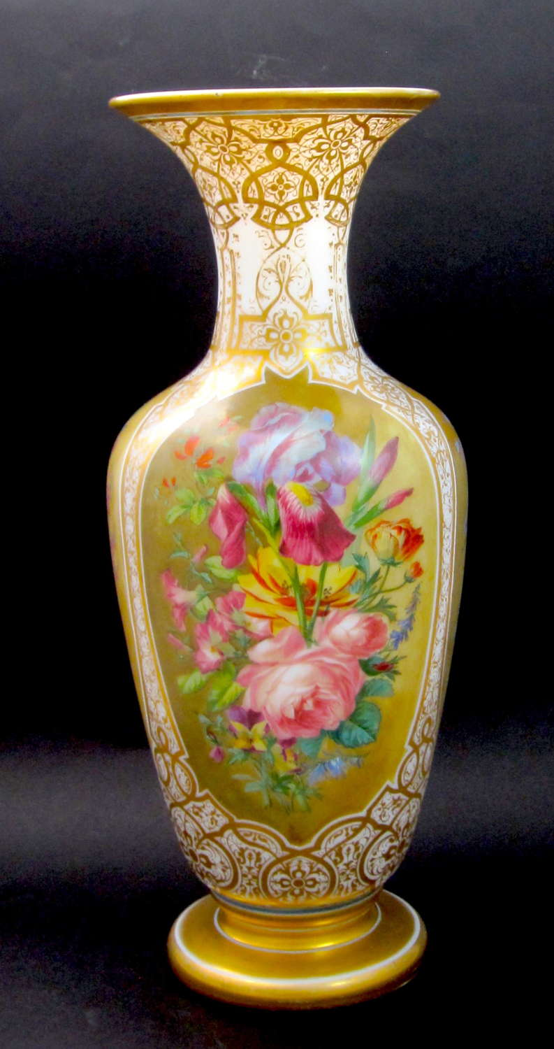 Very Large RARE Baccarat Opaline Vase by Jean Francois Robert