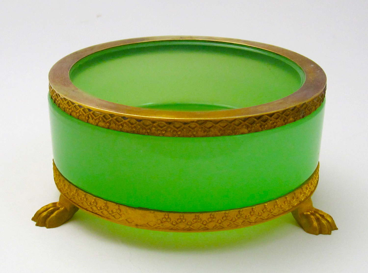 Antique French Green Opaline Glass and Dore Mounted Dish