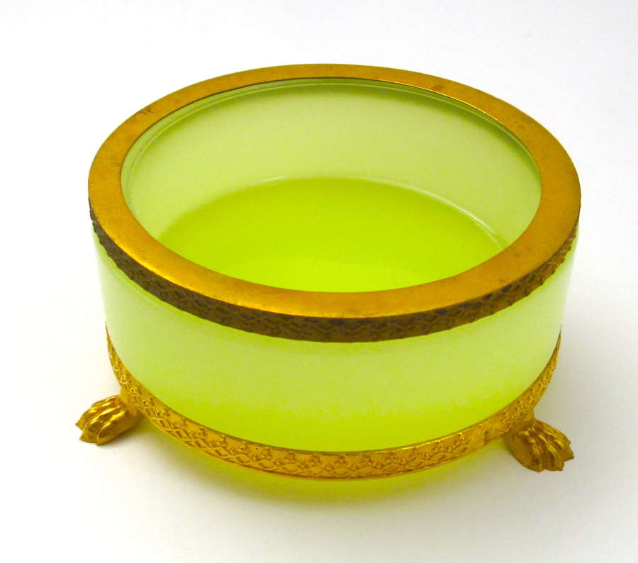 Antique French Yellow Opaline Glass and Dore Mounted Dish.