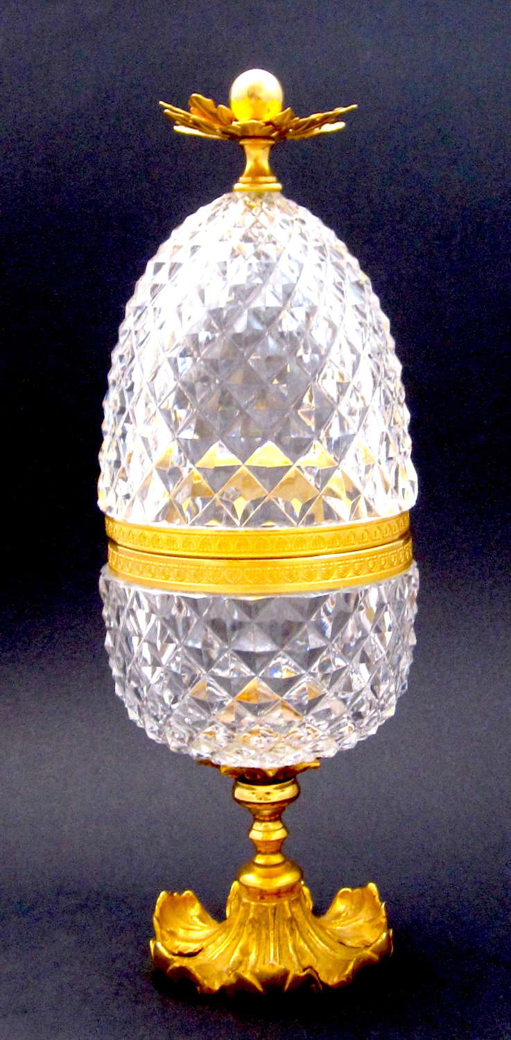 Antique BACCARAT Pineapple Cut Crystal Casket