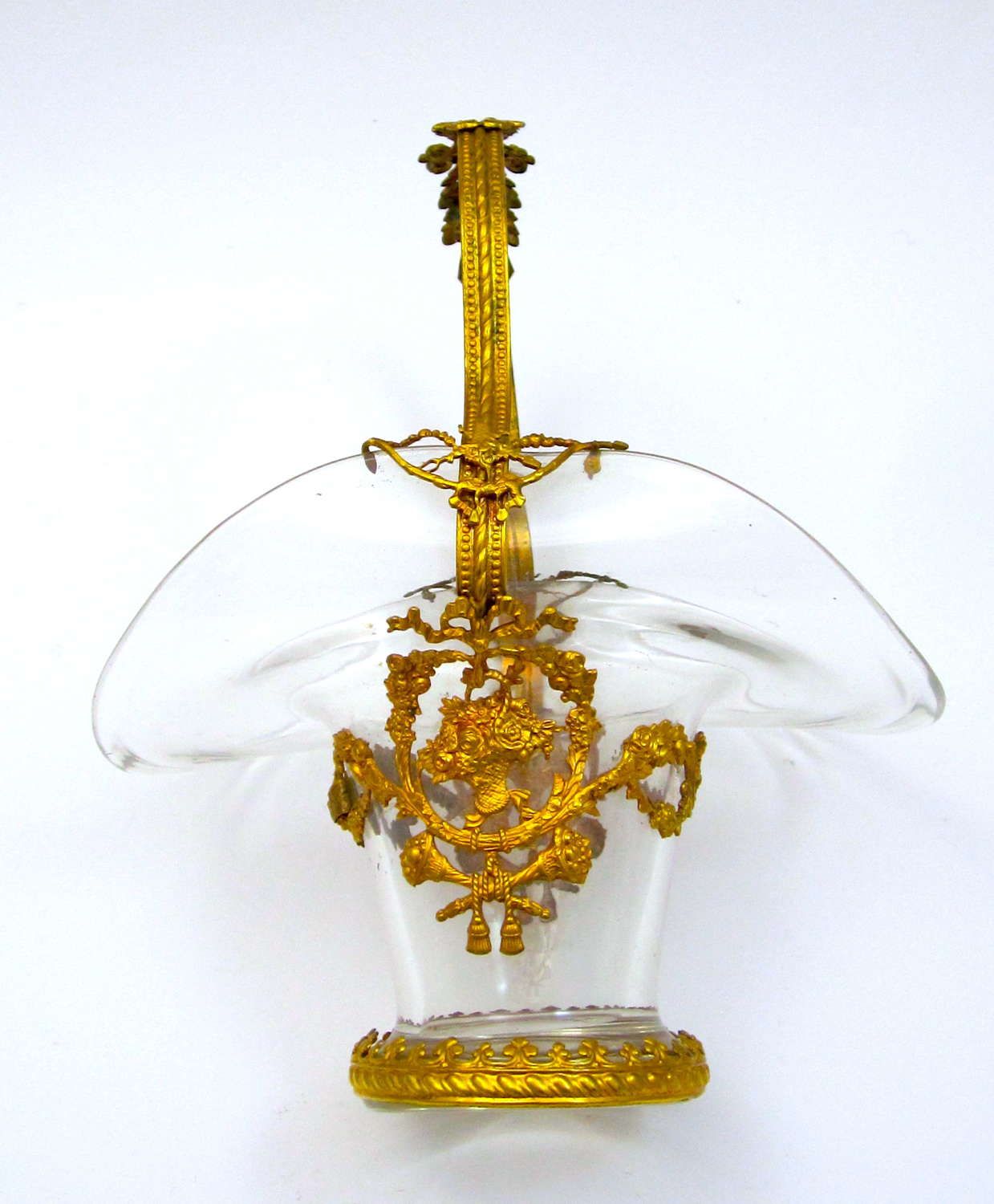 Antique French Napoleon III Dore Bronze and Crystal Basket
