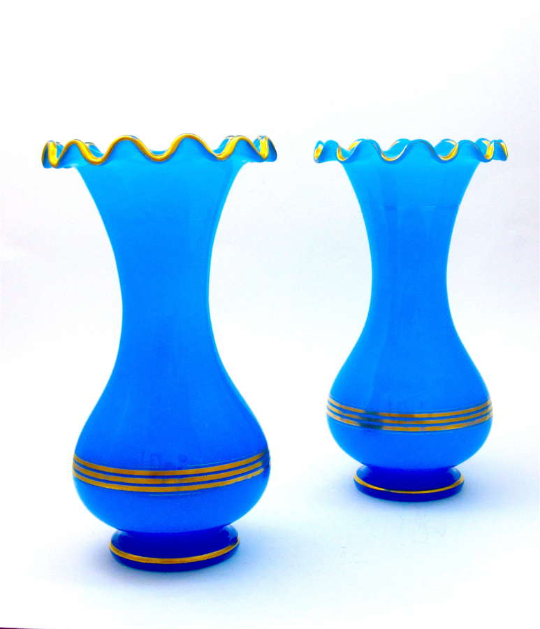 A Pair of Quality Baccarat Blue Opaline Glass Baluster-Shaped Vases