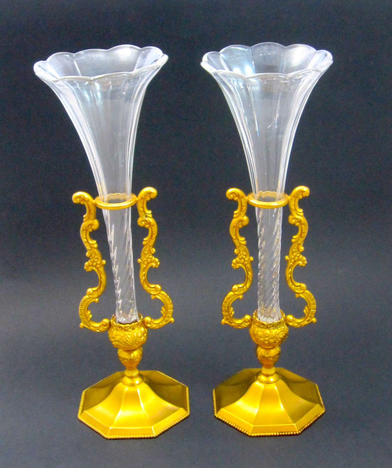 Pair of Elegant Signed E.G Webster & Son Cut Crystal Vases