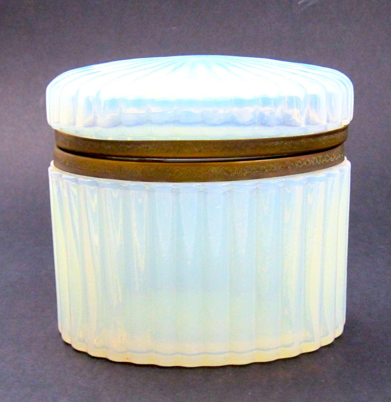 Antique French Oval Bulle De Savon White Opaline GlassCasket.