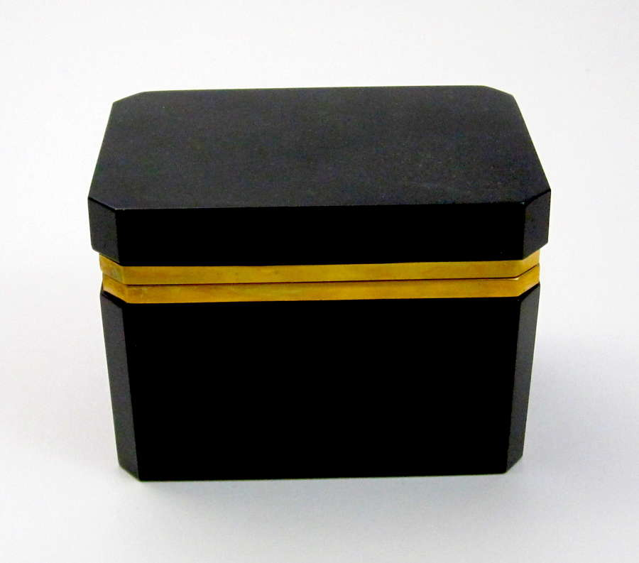 Vintage Italian Murano Black Opaline Glass Casket Box with Smooth Moun
