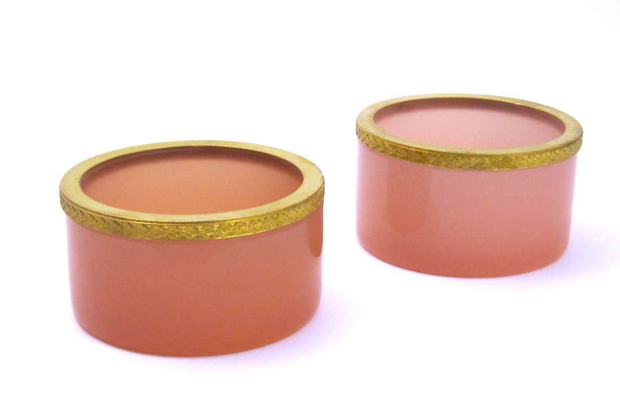 Pair of Antique French Pink Opaline Glass and Dore Mounted Dishes.