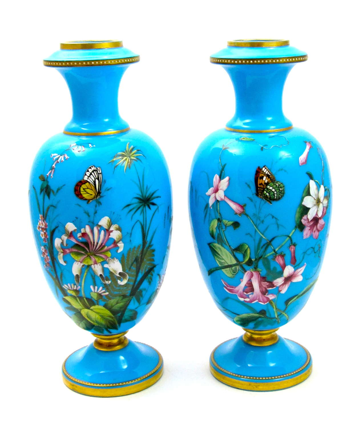 Pair of Exceptional MOSER Blue Opaline Glass Vases with Butterflies