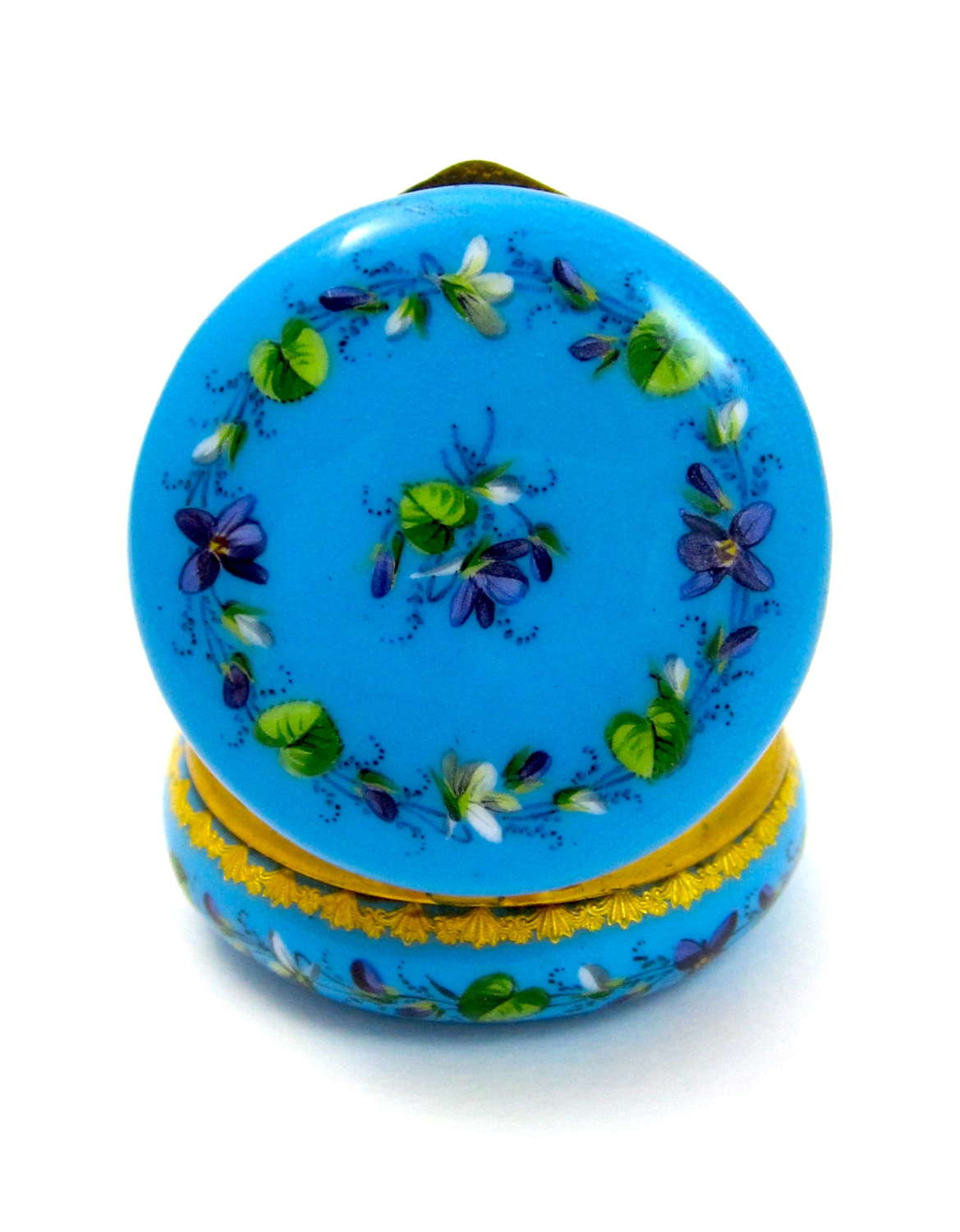 Miniature French Blue Enamel Pill Box Enamelled with Flowers