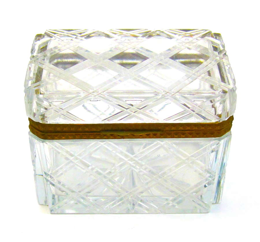 Antique French BACCARAT Cut Crystal Casket with Diamond Pattern