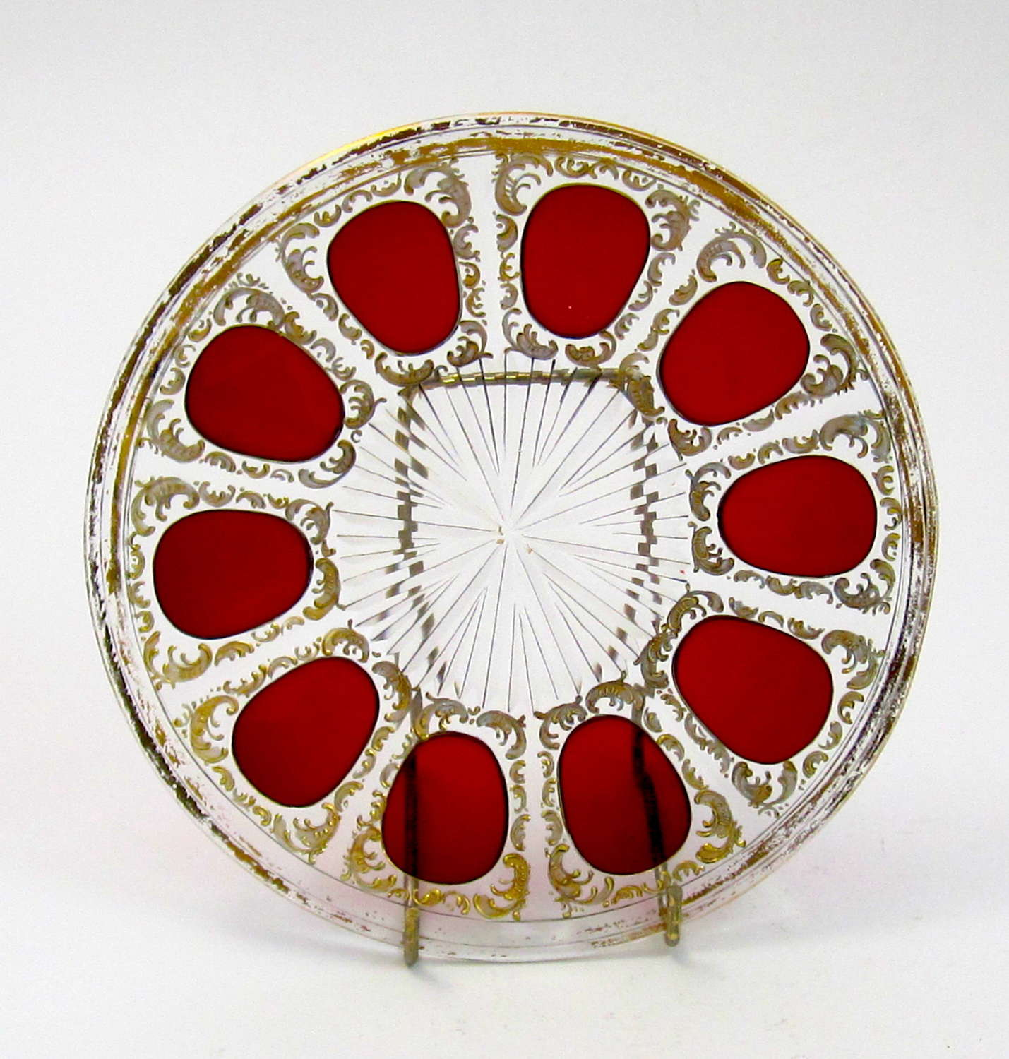 Antique MOSER Bohemian Ruby Plate