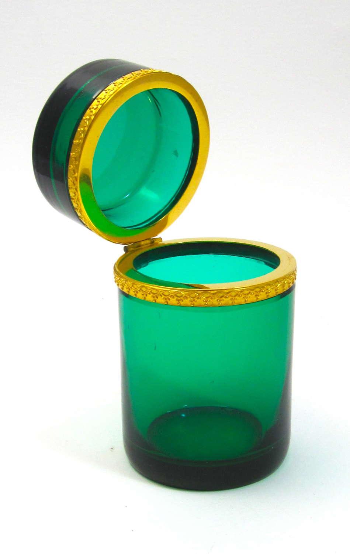 Antique Italian Murano Emerald Green Glass Cylindrical Box