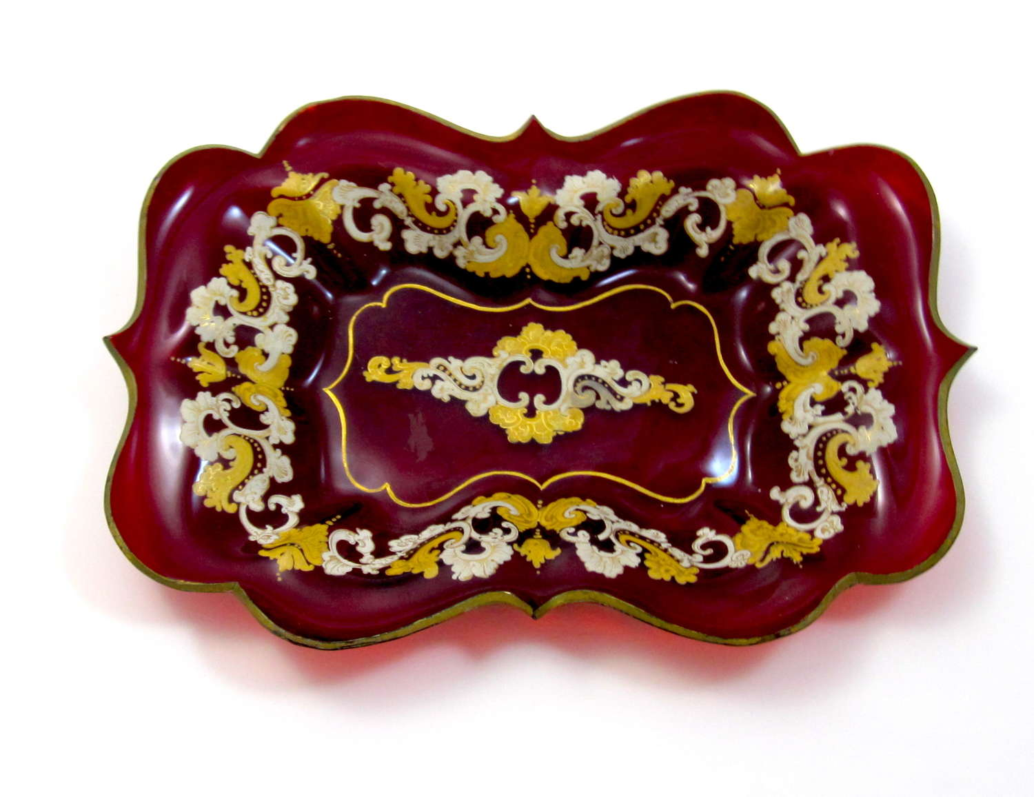Antique Bohemian Deep Ruby Red Glass Gold Enameled Dish.