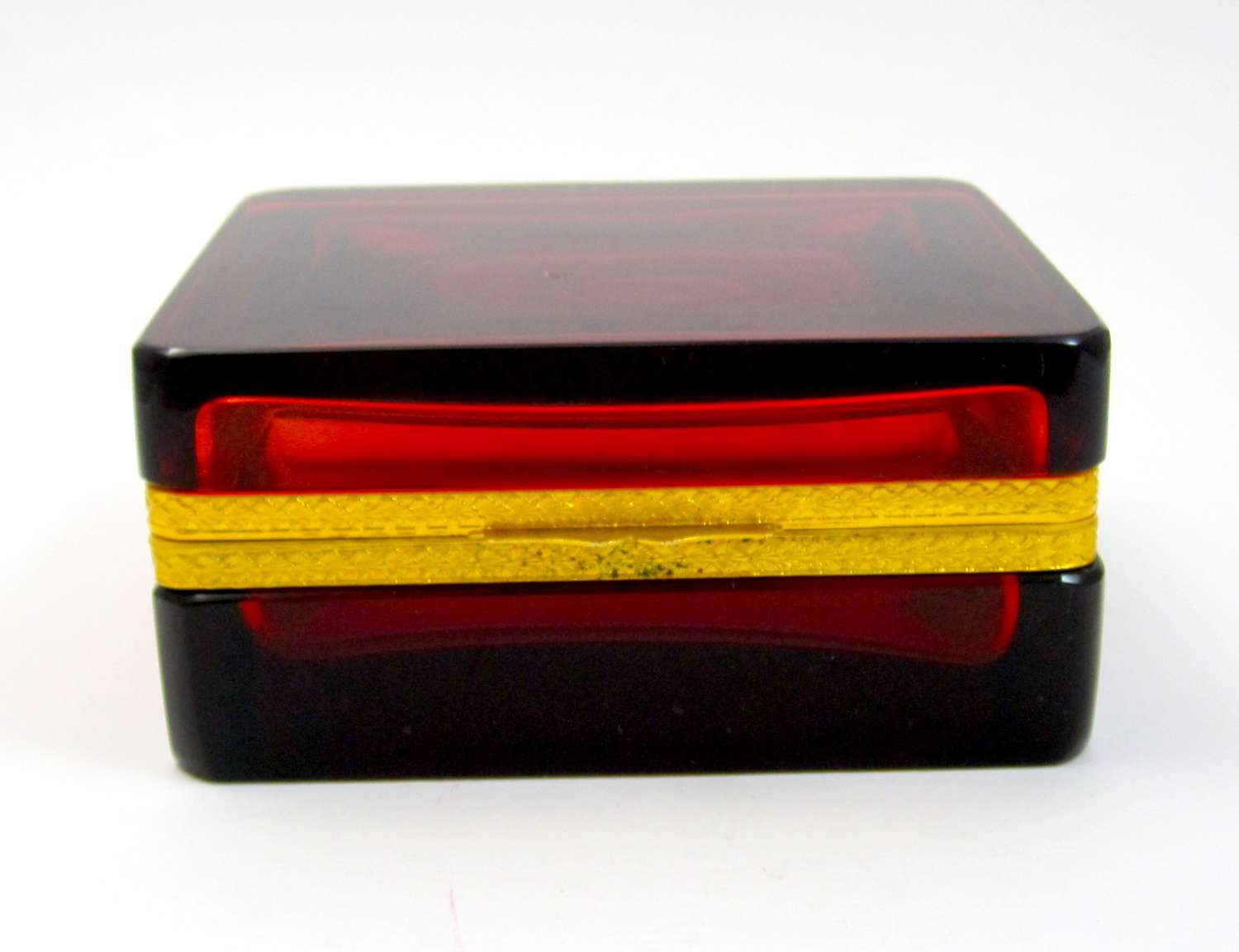 Antique Deep Ruby Red Glass Casket Box