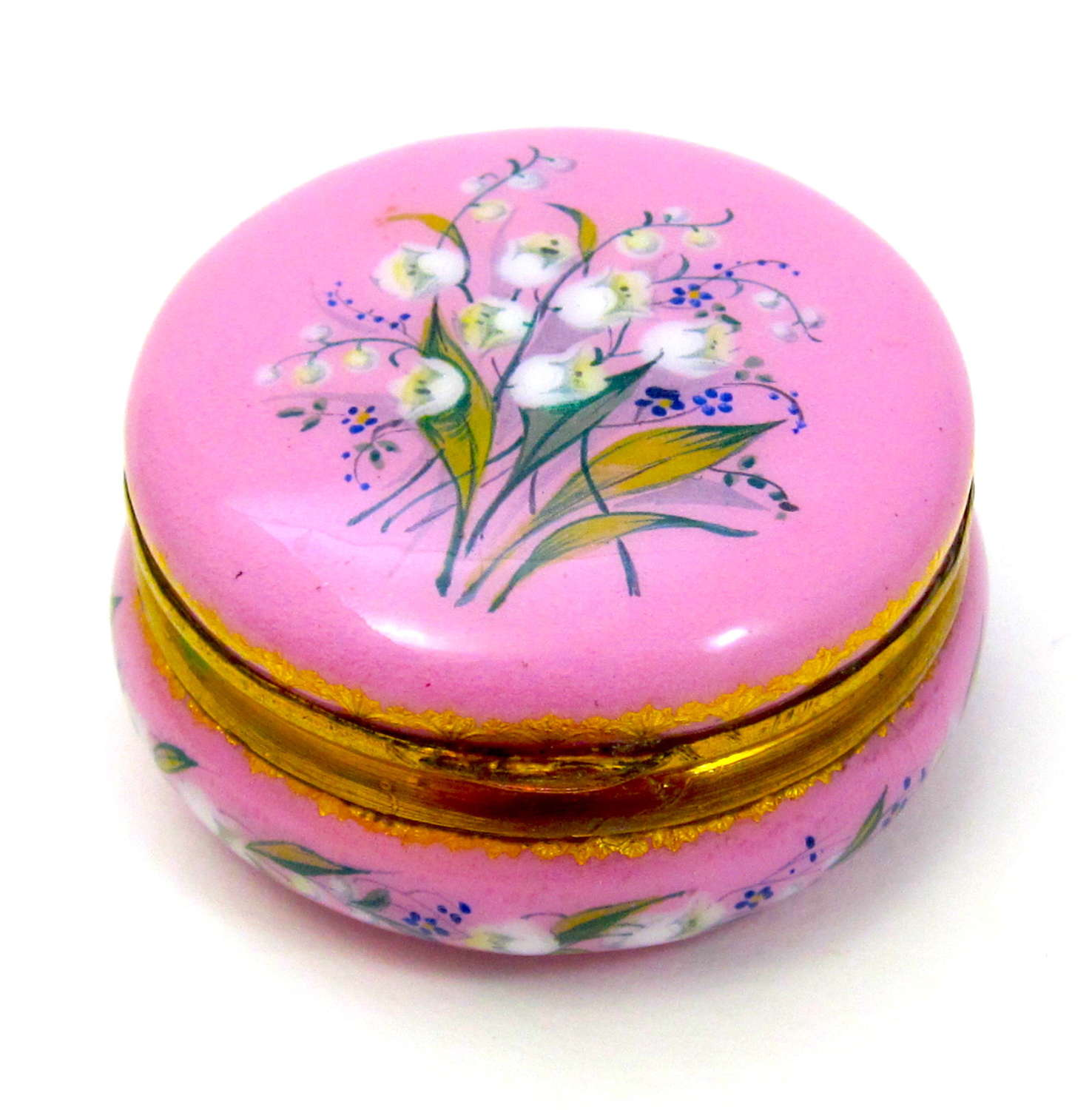 Antique French Pink Enamelled Pill Box with Lilly of the Valley