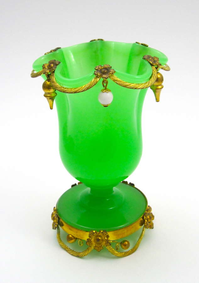 Antique French Green Opaline Glass Vase with Dore Bronze Mounts
