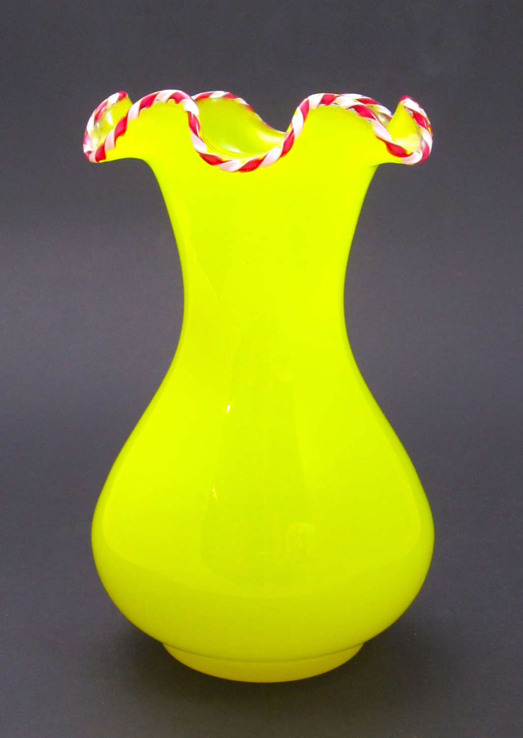 RARE Antique St Louis Yellow Opaline Glass Vase with Candy Stripe Rim